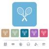 Two tennis rackets white flat icons on color rounded square backgrounds. 6 bonus icons included - Two tennis rackets flat icons on color rounded square backgrounds