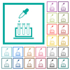 Chemical experiment flat color icons with quadrant frames - Chemical experiment flat color icons with quadrant frames on white background