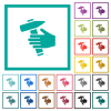 Hammer in hand flat color icons with quadrant frames on white background - Hammer in hand flat color icons with quadrant frames