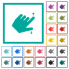 Left handed pinch open gesture flat color icons with quadrant frames on white background - Left handed pinch open gesture flat color icons with quadrant frames
