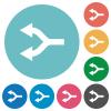 Split arrows left flat round icons - Split arrows left flat white icons on round color backgrounds