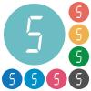 digital number five of seven segment type flat round icons - digital number five of seven segment type flat white icons on round color backgrounds