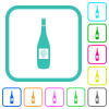 Wine bottle with grapes vivid colored flat icons - Wine bottle with grapes vivid colored flat icons in curved borders on white background