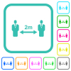 Social distancing 2 meters vivid colored flat icons - Social distancing 2 meters vivid colored flat icons in curved borders on white background