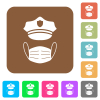 Police hat and medical face mask rounded square flat icons - Police hat and medical face mask flat icons on rounded square vivid color backgrounds.