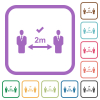 Correct social distancing simple icons - Correct social distancing simple icons in color rounded square frames on white background