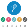 Tennis racket with ball flat white icons on round color backgrounds. 6 bonus icons included. - Tennis racket with ball flat round icons