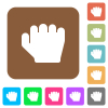 Right handed grab gesture rounded square flat icons - Right handed grab gesture flat icons on rounded square vivid color backgrounds.