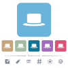 Silk hat white flat icons on color rounded square backgrounds. 6 bonus icons included - Silk hat flat icons on color rounded square backgrounds