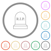 Tombstone with cross flat icons with outlines - Tombstone with cross flat color icons in round outlines on white background