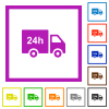 24 hour delivery truck flat framed icons - 24 hour delivery truck flat color icons in square frames on white background