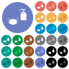 Medical face mask and liquid soap multi colored flat icons on round backgrounds. Included white, light and dark icon variations for hover and active status effects, and bonus shades. - Medical face mask and liquid soap round flat multi colored icons