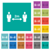 Social distancing 2 meters square flat multi colored icons - Social distancing 2 meters multi colored flat icons on plain square backgrounds. Included white and darker icon variations for hover or active effects.