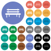 Park bench round flat multi colored icons - Park bench multi colored flat icons on round backgrounds. Included white, light and dark icon variations for hover and active status effects, and bonus shades.