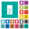 Oil barrel square flat multi colored icons - Oil barrel multi colored flat icons on plain square backgrounds. Included white and darker icon variations for hover or active effects.