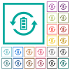Renewable energy flat color icons with quadrant frames on white background - Renewable energy flat color icons with quadrant frames