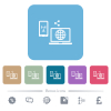 Share mobile internet white flat icons on color rounded square backgrounds. 6 bonus icons included - Share mobile internet flat icons on color rounded square backgrounds