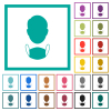Face and medical mask flat color icons with quadrant frames - Face and medical mask flat color icons with quadrant frames on white background