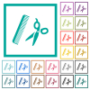 Comb and scissors flat color icons with quadrant frames on white background - Comb and scissors flat color icons with quadrant frames