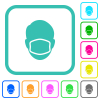 Face with medical mask vivid colored flat icons - Face with medical mask vivid colored flat icons in curved borders on white background