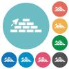 Brick wall and trowel flat round icons - Brick wall and trowel flat white icons on round color backgrounds