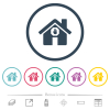 Home quarantine flat color icons in round outlines - Home quarantine flat color icons in round outlines. 6 bonus icons included.