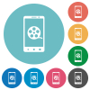 Mobile movie flat white icons on round color backgrounds - Mobile movie flat round icons