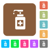 Hand sanitizer rounded square flat icons - Hand sanitizer flat icons on rounded square vivid color backgrounds.