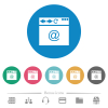 Browser email flat round icons - Browser email flat white icons on round color backgrounds. 6 bonus icons included.
