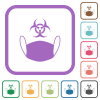 Face mask and biohazard symbol simple icons - Face mask and biohazard symbol simple icons in color rounded square frames on white background