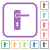 Right handed door handle with screws simple icons - Right handed door handle with screws simple icons in color rounded square frames on white background