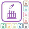 Chemical experiment simple icons - Chemical experiment simple icons in color rounded square frames on white background