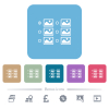 Single image selection with radio buttons flat icons on color rounded square backgrounds - Single image selection with radio buttons white flat icons on color rounded square backgrounds. 6 bonus icons included