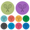 Two tennis rackets darker flat icons on color round background - Two tennis rackets color darker flat icons