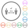 Correct social distancing flat icons with outlines - Correct social distancing flat color icons in round outlines on white background