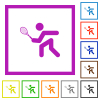 Tennis player flat framed icons - Tennis player flat color icons in square frames on white background