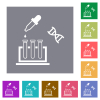 DNA experiment square flat icons - DNA experiment flat icons on simple color square backgrounds