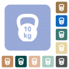 Kettlebel 10 Kg white flat icons on color rounded square backgrounds - Kettlebel 10 Kg rounded square flat icons