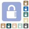 Locked combination lock with side numbers rounded square flat icons - Locked combination lock with side numbers white flat icons on color rounded square backgrounds