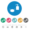 Medical face mask and liquid soap flat round icons - Medical face mask and liquid soap flat white icons on round color backgrounds. 6 bonus icons included.
