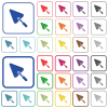 Trowel outlined flat color icons - Trowel color flat icons in rounded square frames. Thin and thick versions included.