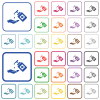 Hand washing with hand sanitizer outlined flat color icons - Hand washing with hand sanitizer color flat icons in rounded square frames. Thin and thick versions included.