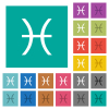 Pisces zodiac symbol square flat multi colored icons - Pisces zodiac symbol multi colored flat icons on plain square backgrounds. Included white and darker icon variations for hover or active effects.