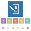 Signing Bitcoin cheque flat white icons in square backgrounds. 6 bonus icons included. - Signing Bitcoin cheque flat white icons in square backgrounds