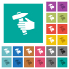 Hammer in hand multi colored flat icons on plain square backgrounds. Included white and darker icon variations for hover or active effects. - Hammer in hand square flat multi colored icons