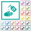 Hand washing with hand sanitizer flat color icons with quadrant frames on white background - Hand washing with hand sanitizer flat color icons with quadrant frames
