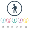 Man walking left flat color icons in round outlines - Man walking left flat color icons in round outlines. 6 bonus icons included.