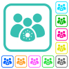 Group covid infection vivid colored flat icons - Group covid infection vivid colored flat icons in curved borders on white background
