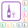 Wine bottle and glass simple icons - Wine bottle and glass simple icons in color rounded square frames on white background