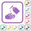 Hand washing with liquid soap simple icons - Hand washing with liquid soap simple icons in color rounded square frames on white background